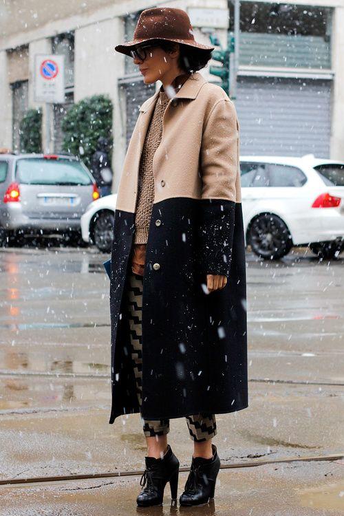Love the two-tone coat.
