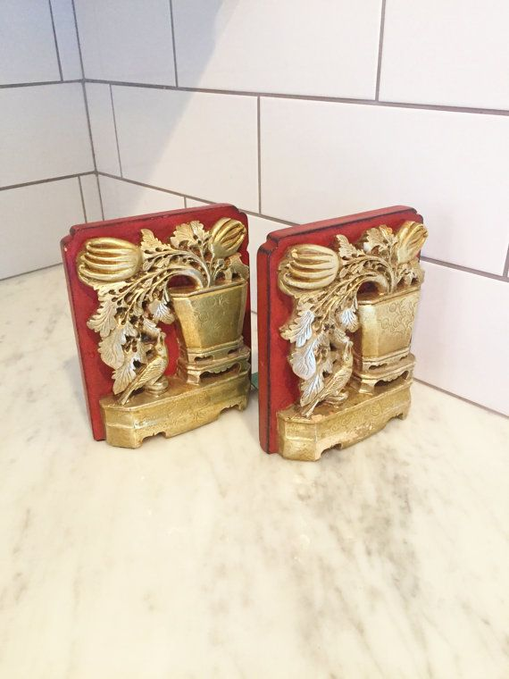 Chinoiserie Bookends, Borghese Bookends, Vintage Bookends, Asian Decor, Made in Italy, Silver Bookends