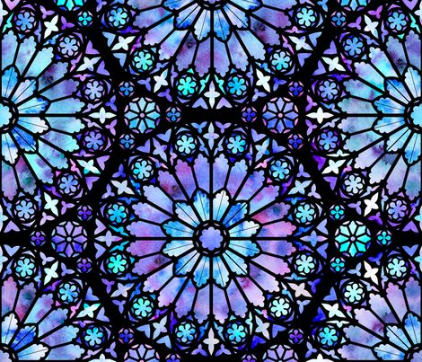 Watercolor Rose Windows (Blue and Purple) fabric by logan_spector on Spoonflower - custom fabric