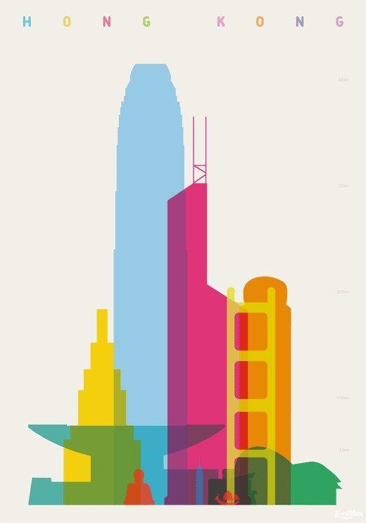 """HONG KONG/""""Shapes of Cities"""". Proyecto realizado por Yoni Alter. Es un diseñador inglés que ya tiene varias colecciones más que pueden resultar tan interesantes como la que presentamos en este post, que se trata de posters que muestran los rascacielos y construcciones destacadas de distintas ciudades del mundo."""