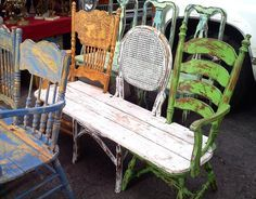 13 Awesome Outdoor Bench Projects, Ideas & Tutorials! • 3 totally different old repurposed chairs make up this wonderful eclectic bench!