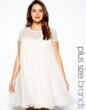 Too expensive, but I like it!  Lipstick Boutique Plus Swing Dress With Daisy Lace Yoke