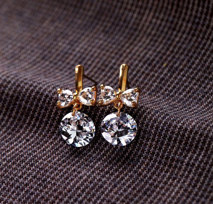Diamond bow earings