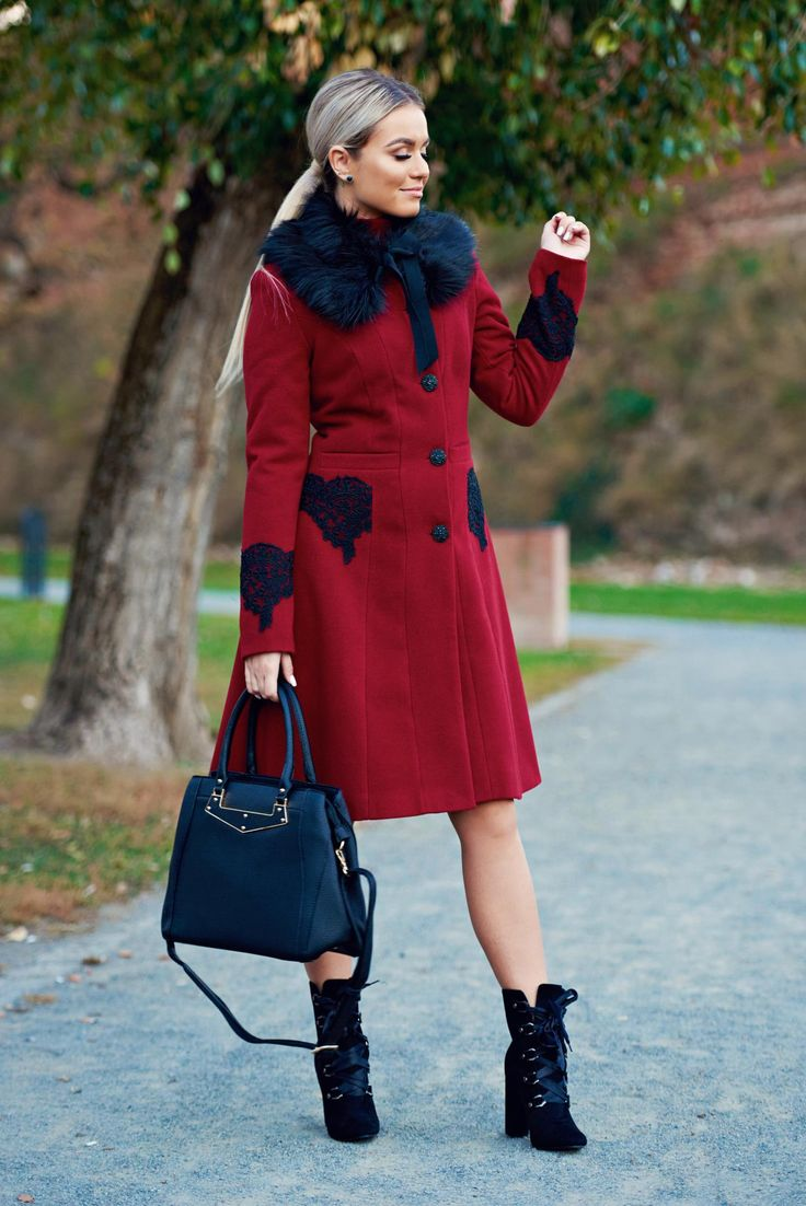LaDonna best impulse elegant embroidered from wool with inside lining burgundy coat, with pockets, Best Impulse, inside lining, detachable faux fur insertions, embroidery details, wool, women`s coat, with buttons, padded shoulders