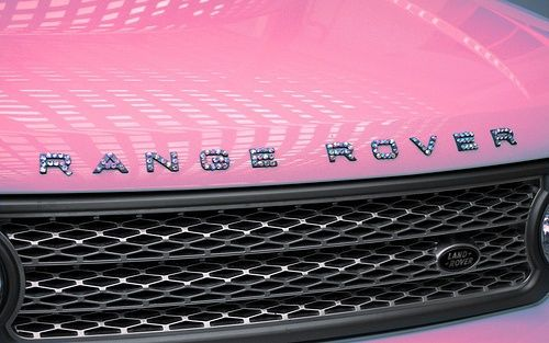 Pink Range Rover with sparkled letters. In a deeper pink this would be the perfect vehicle for www.charmsations.com/#Tracy