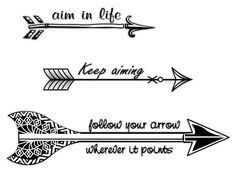 Black and White Arrow Tattoos with Phrases