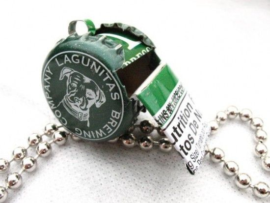 Re used caps whistle recycled ideas beer bottles for Can beer bottle caps be recycled