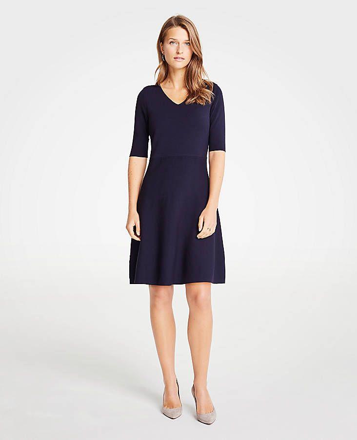 91e4616093f Wide V-Neck Flare Sweater Dress