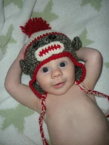 Cutie sock monkey hat! On #Zibbet