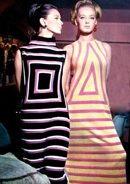 I like the designs on these dresses and the turtle neck. Very in style for that time period.