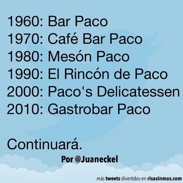 Evolución nombres de los bares. #humor #risa #graciosas #chistosas #divertidas