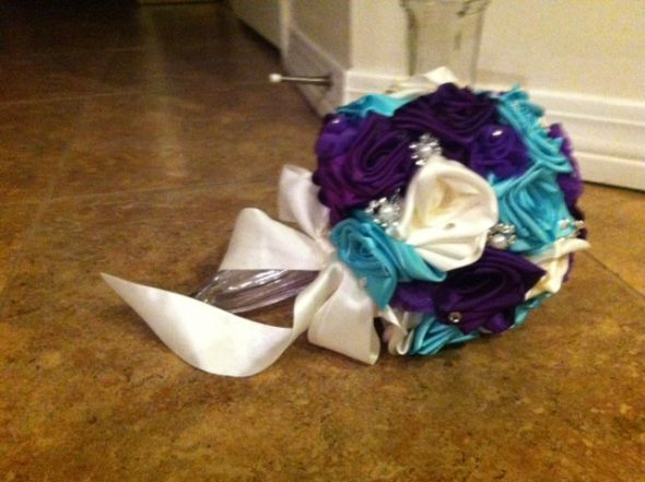 My Purple and Tiffany Blue Ribbon Rose Bouquet :  wedding bling bouquet diy flowers ivory purple ribbon roses roses silver teal Roses 2