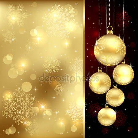 Скачать - Золотые рождественские безделушки — стоковая иллюстрация #13153140