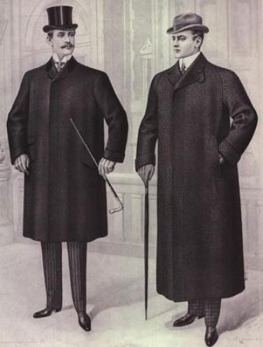 Модные пальто. Слева пальто, которое носили с цилиндром и утренней одеждой, справа — пальто, которое носили с бизнес-костюмом и хомбургом, декабрь 1900.