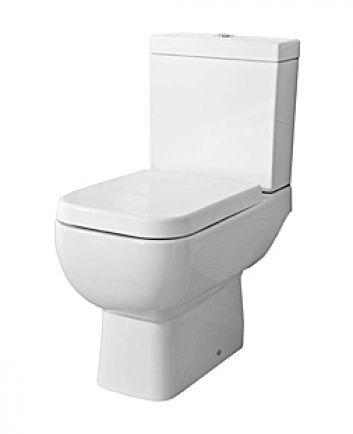 Quartz close coupled WC suite and soft close toilet seat white/chrome. Aston Matthews £232