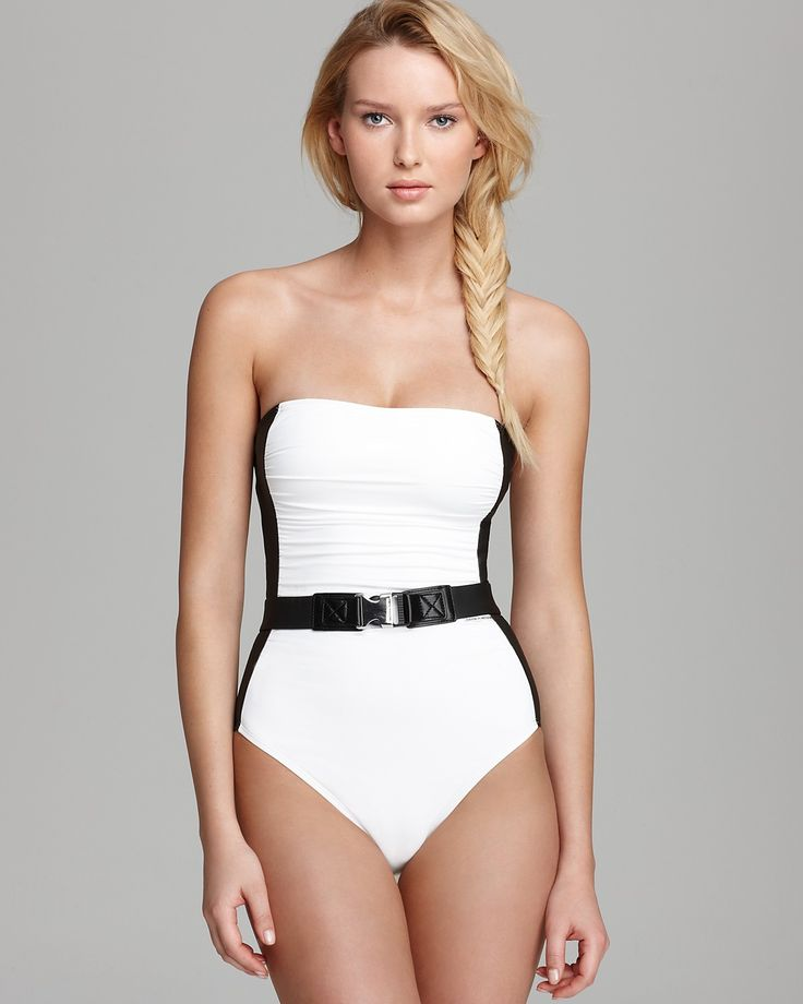michael michael kors chatsworth solid bandeau one piece swimsuit bloomingdales my style. Black Bedroom Furniture Sets. Home Design Ideas