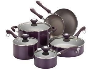 Traditional Porcelain Nonstick Cookware Set (10-pc.): Purple by Paula Deen