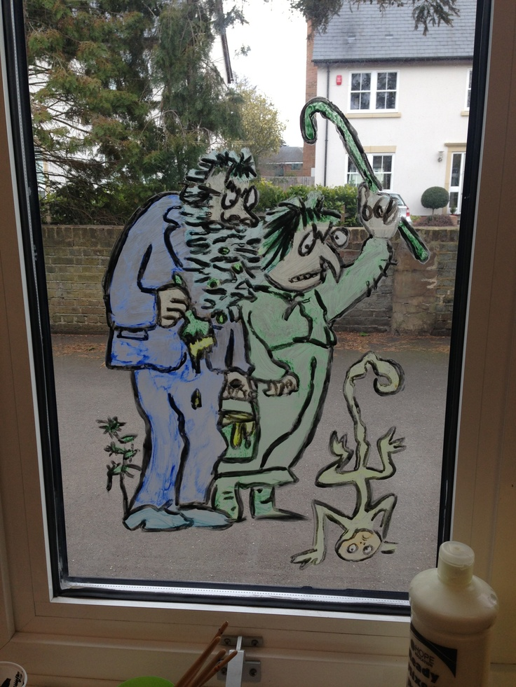 Roald Dahl The Twits window painting in a classroom. Idea for guided reading when on Roald Dahl