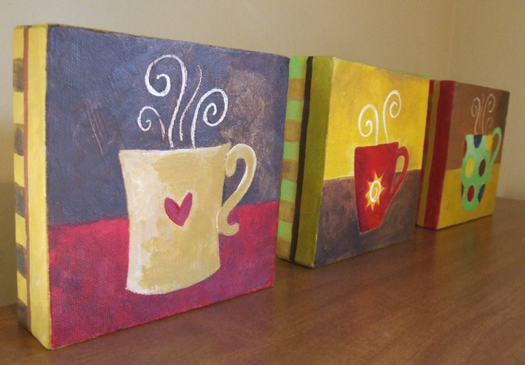 Coffee Cups - Set of Three 5x5 Original Acrylic Canvas