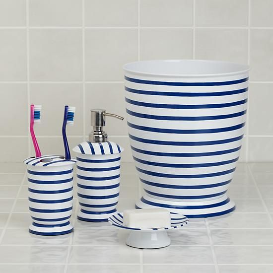 Nautical Blue And White Stripe Bath Accessories Collection The