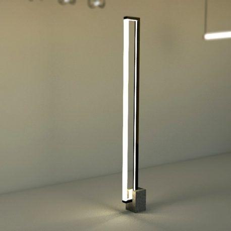 Esta luz está diseñada para iluminar espacios amplios y generar sombras en los lugares en los cuales será emplazada. Esta pieza crea un espacio iluminado no tradicional, ya que la luz estará dispuesta de manera vertical y a la altura promedio de una persona. Cambiando la experiencia que tenemos con las luces de techo o las lámparas de escritorio.  Producto diseñado y construido artesanalmente en los talleres OBJ.diseño.
