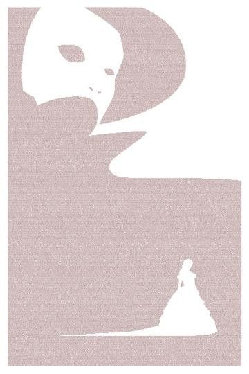 Litograph poster created entirely from the text of The Phantom of the Opera