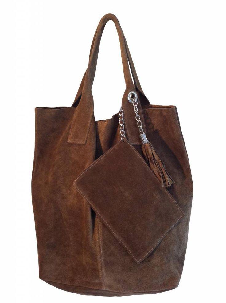 Suede shopper taupe bruin - Prachtig suede shopper uit Italië. Nonchalant model zachte suède shopper met een klein tasje eraan.