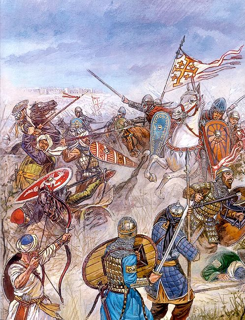 The Battle of Ascalon took place on August 12, 1099 shortly after the capture of Jerusalem, and is often considered the last action of the First Crusade. The crusader army led by Godfrey of Bouillon defeated and drove off the numerically-superior Fatimid army, securing the safety of Jerusalem.