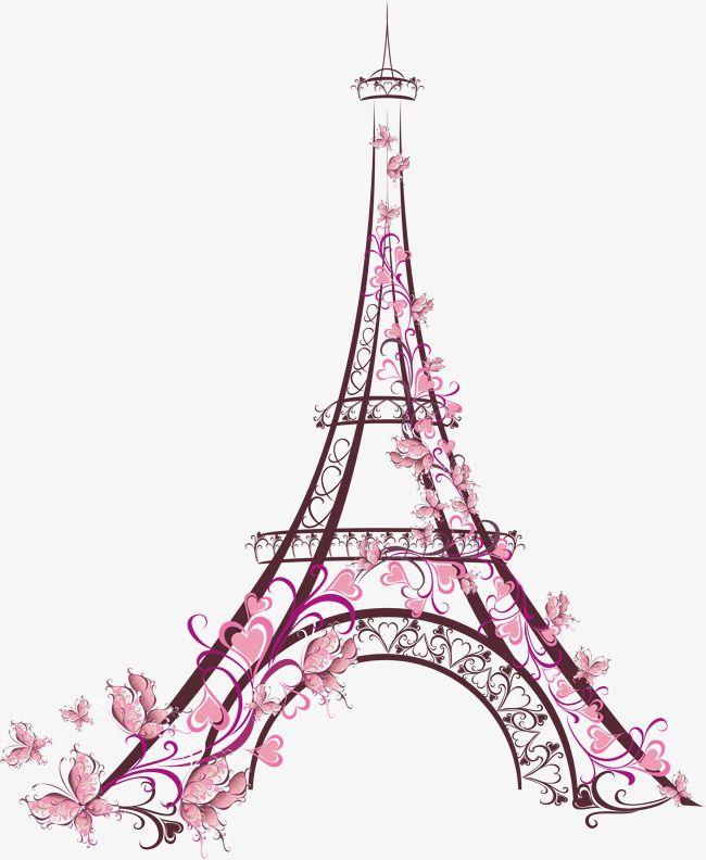 Torre De Cana De Flor Rosa Pintura De Torre Eiffel Torre Eiffel Dibujo Torre Eifel Dibujo