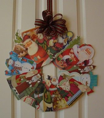 Christmas Card Wreath... I've been saving cards for years. This is close to what I want to do, but not quite...