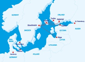 Tallink and Silja Line routes to Finland
