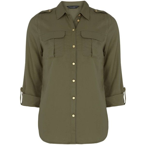 Dorothy Perkins Khaki Military Shirt ($32) ❤ liked on Polyvore featuring tops, shirts, blouses, khaki, dorothy perkins, rayon tops, rayon shirts, pleated top and khaki shirt