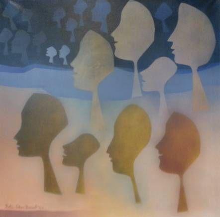 S2890 Betti Cilliers Barnard Abstract Faces 90cmx90cm Oil on canvas