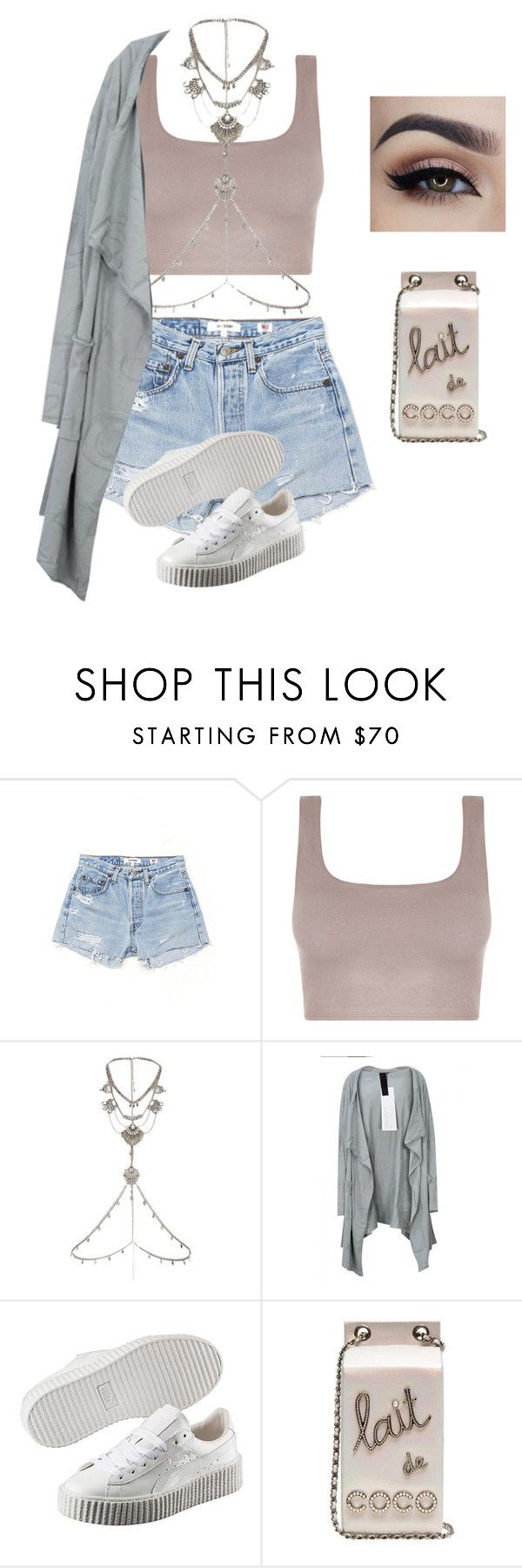 """""""Creepers x Chanel"""" by styleswavington ❤ liked on Polyvore featuring RE/DONE, River Island, Rundholz, Puma and puma"""