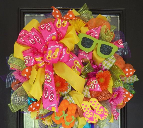 Summer Flip Flop Wreath Summer Wreath Door by OccasionsBoutique