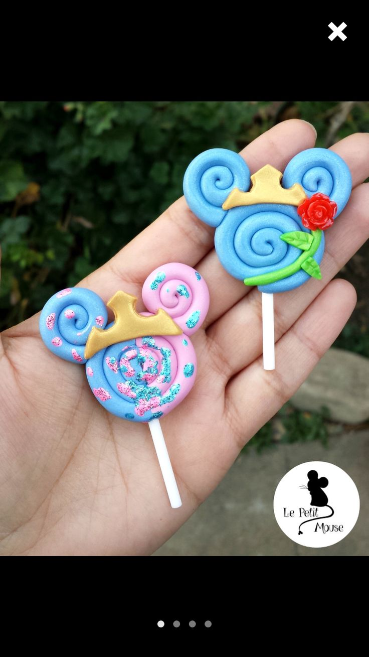 Polymer clay Disney inspired Mickey Mouse lollipop necklace. Polymer clay