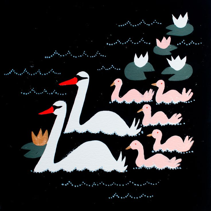 Gouache, Emily Isabella, Seven swans a swimming.