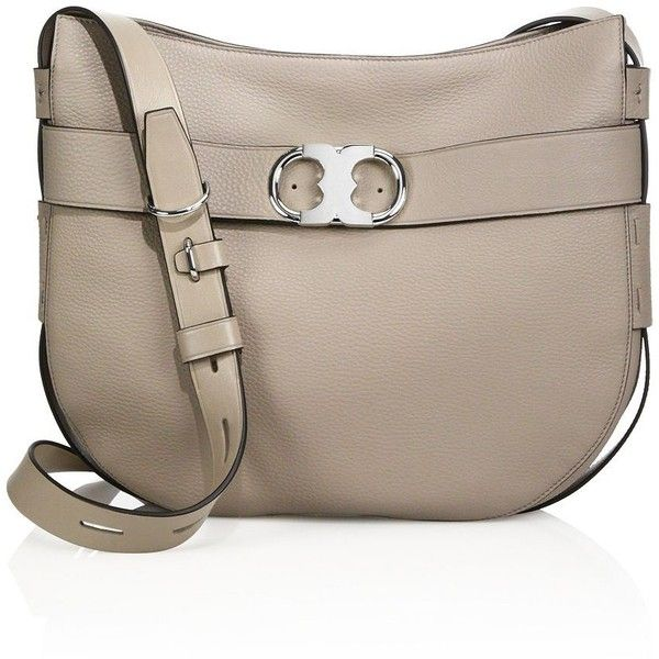 Tory Burch Gemini Leather Hobo Crossbody Bag ($595) ❤ liked on Polyvore featuring bags, handbags, shoulder bags, french grey, purse crossbody, man leather shoulder bag, tory burch handbags, leather crossbody purse and leather hobo handbags