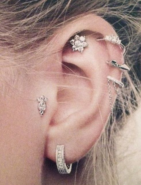 Diamond Hoop Earrings with Diamond Cuff and Cartilege Ear Studs