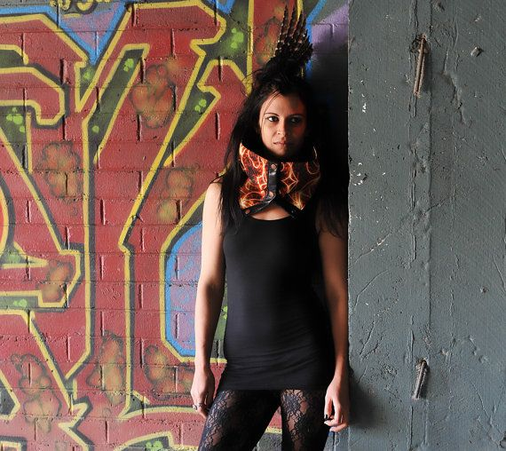Black leather and fire painted neoprene fabric Scarf by Spunkhyde