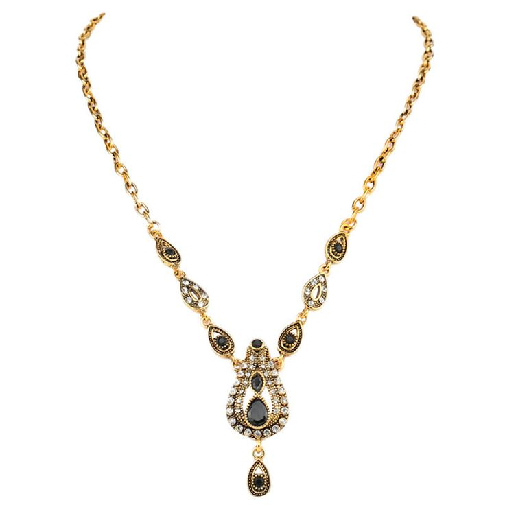 Turkish Jewelry Austria Crystal Trendy Necklace Pendant 18K Gold Plated Black Resin Necklace For Women