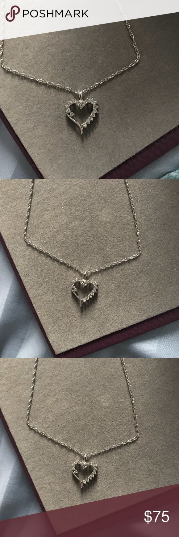 Diamond heart necklace Beautiful diamond heart necklace on a sterling silver chain. Never worn. It's been in my jewelry box and I would love for someone else to enjoy this gorgeous necklace. Open to offers 😊 Kay Jewelers Jewelry Necklaces