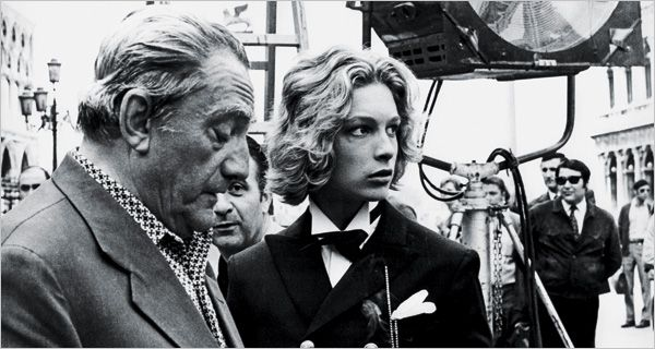 The noble director Luchino Visconti in 1970 on the set of ''Death in Venice,'' with Bjorn Andresen, who played the teen androgyne Tadzio.