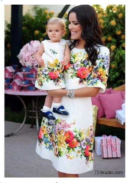 Anne Kız Elbise Kombinleri