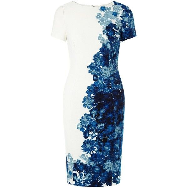 Adrianna Papell Floral sheath dress (800 BRL) ❤ liked on Polyvore featuring dresses, blue multi, women, floral dress, blue floral dress, short dresses, short sleeve dress and white knee length dress