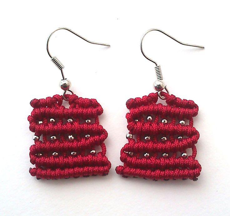 cute rectangle macrame earrings by KleopatrasCreations on Etsy