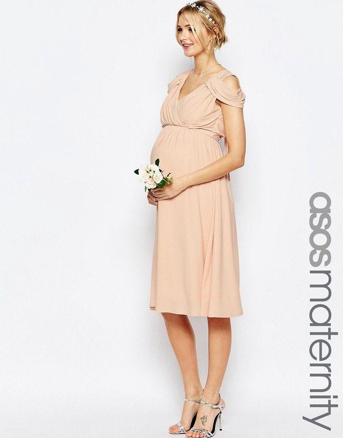 ASOS Maternity - Maternité - Robe mi-longue drape paules dnudes pour mariage
