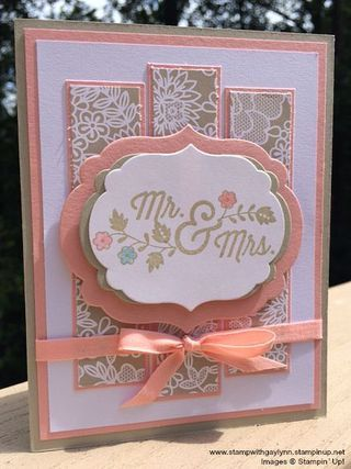 """Stampin Up For the New Two, Whisper White, Blushing Bride, & Sahara Sand DSP Something Borrowed Framelits Labels Collection, Subtles Markers, Blushing Bride ¼"""" Cotton Ribbon"""