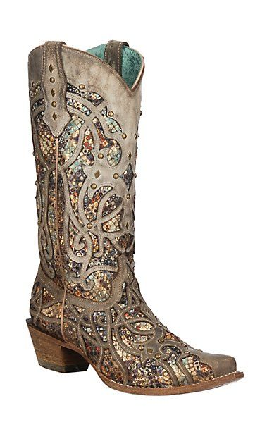 14c81486bce3 Corral Women's Taupe with Multi-Color Inlay & Studs Snip Toe Boots    Cavender's