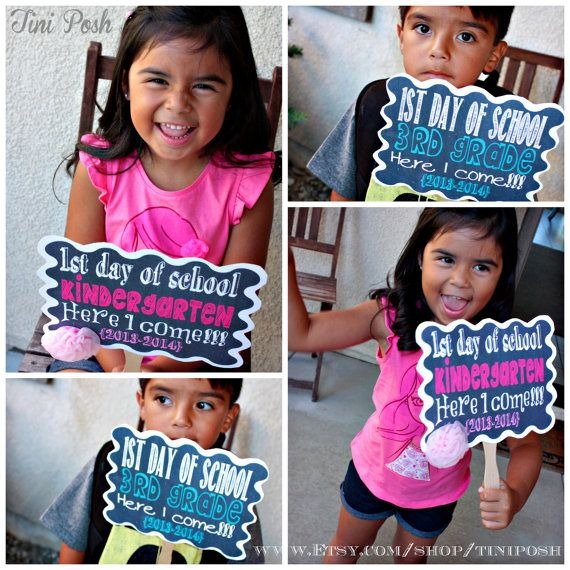 First Day of School  Kindergarten Printable Sign by TiniPosh